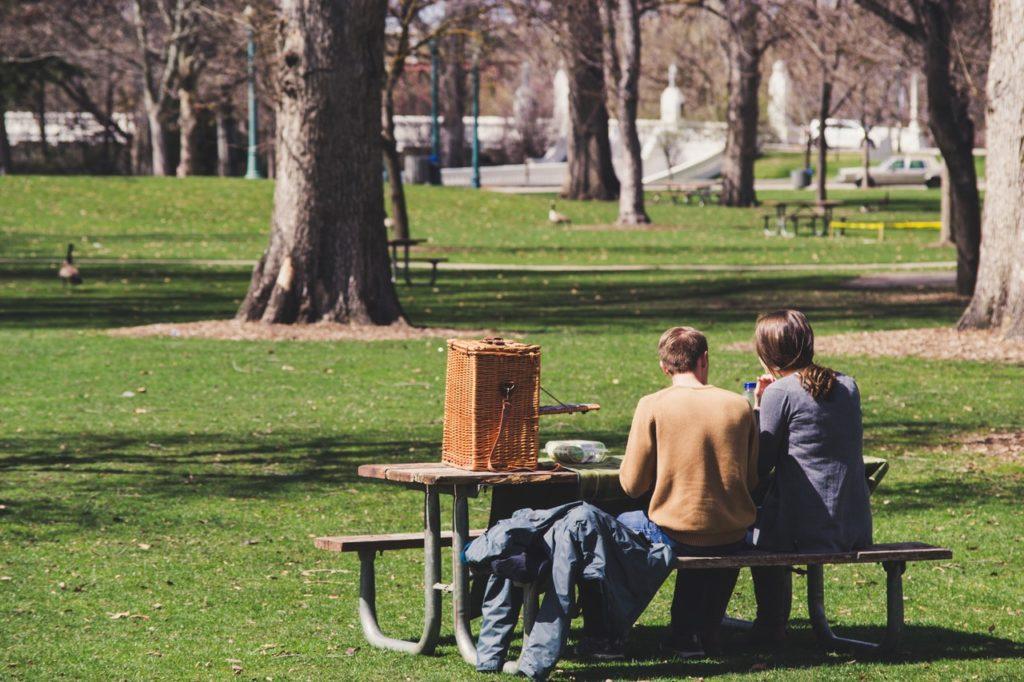 having a picnic at the park